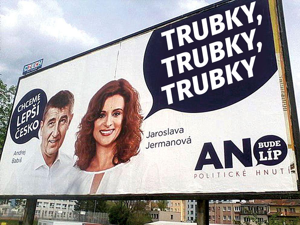 Billboard Babiš dálnice dálnice trubky